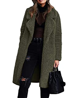 Angashion Damen Winter Revers Parka Wollmantel Trenchcoat Mantel Strickjacke Steppjacke Cardigan
