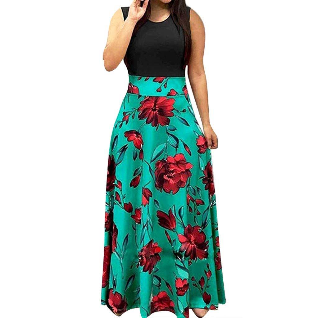 Serzul Ladies Summer Sleeveless Loose Plain Maxi Dress Floral Print Casual Long Dresses Swing Dress Sundress Green