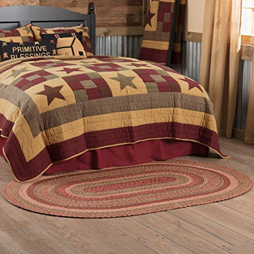 VHC Brands 45596 Burgundy Red Primitive Country Flooring Cider Mill Jute Rug, 48x72 ()