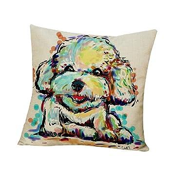Amazon.com: Wintefei - Funda de cojín de lino con diseño de ...