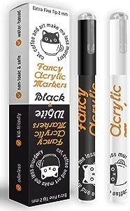 Rock painting set acrylic pen extra fine tip - Black & White