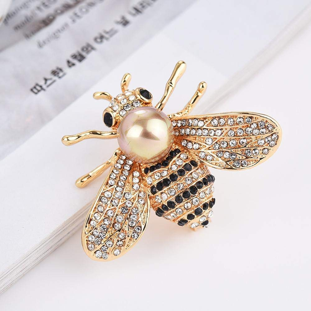 Desti Flakes Brooch Crystal Bee Brooch Female Accessory Selling Imitation Freshwater Pearl Hornet pin Brooch Autumn and Winter
