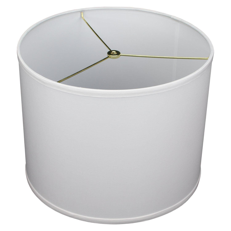 FenchelShades.com 14'' Top Diameter x 14'' Bottom Diameter 11'' Height Cylinder Drum Lampshade USA Made (White)
