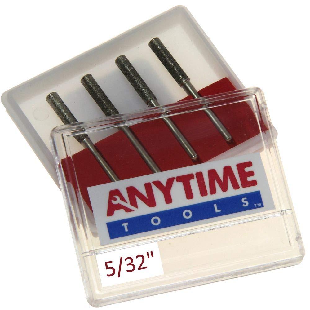 "Anytime Tools 5/32"" Diamond Chainsaw Sharpener Burr 1/8"" Shank, 4 Pack"