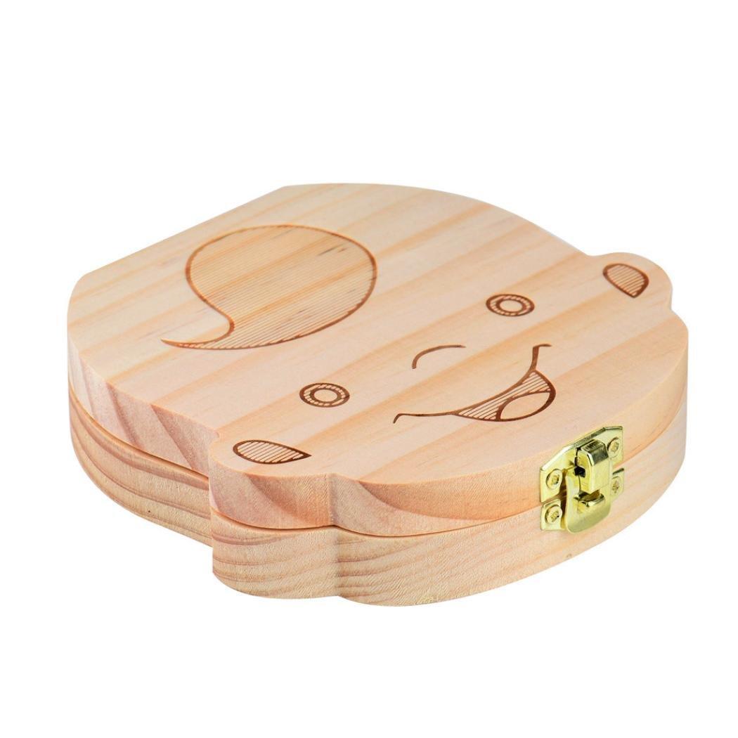Tefamore Caja del Colecci/ón Diente para el beb/é Cajas de almacenaje de Madera para los Cabritos Muchacho y Muchacha Organizador de la Dientes de la Leche Ahorre Cuadro de Hoja caduca Lanugo