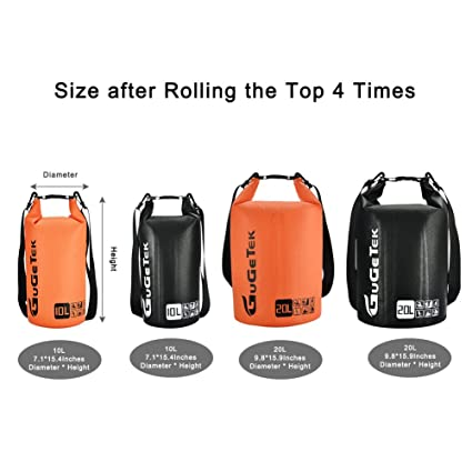 2534526b5eb6 Amazon.com   GuGeTek Waterproof Dry Bag Backpack 10L 20L Submersible  Floating Roll Top Dry Compression Sack for Kayaking Beach Camping Hiking  and Other ...