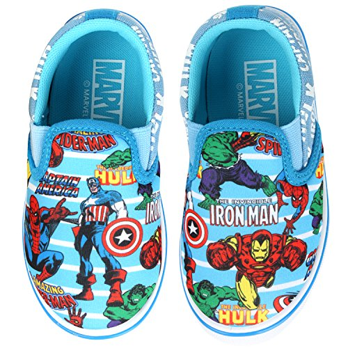 Joah Store Spider-Man Iron Man Hulk Captain America Assorted Heroes Slip On for Boys Blue Shoes (11 M US Little Kid, Avengers) -