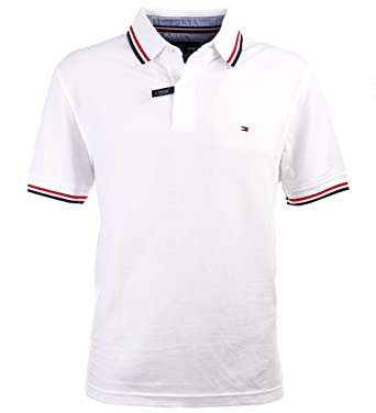 fa15806e63 Tommy Hilfiger Men's Striped Collar Polo at Amazon Men's Clothing store: