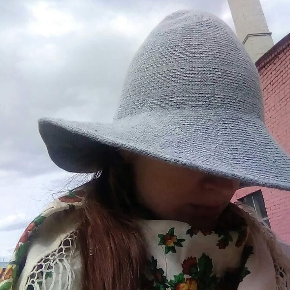 Kalaokei Women Fashion Korean Winter Knitted Pointy Witch Bucket Hat Warm Breathable Cap