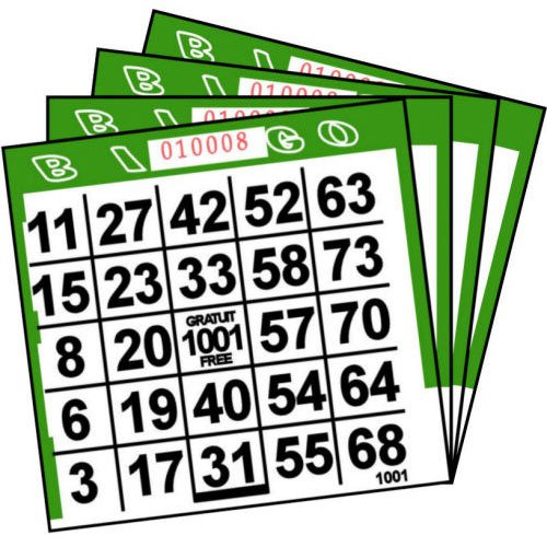 Abbott Products 1 On Green Paper Bingo Cards (500 Ct) (500 Per Package)