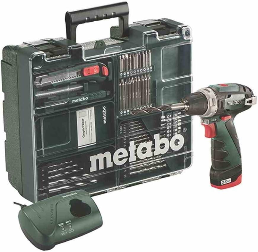 Metabo PowerMaxx BS Basic Set taladradora con batería de ion de litio de 10,8 V y accesorios/herramientas