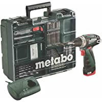 Metabo, officina mobile Power Maxx BS Basic Set, avvitatore/trapano a batteria, con batteria agli ioni di litio da 10,8 V e accessori, set di attrezzi