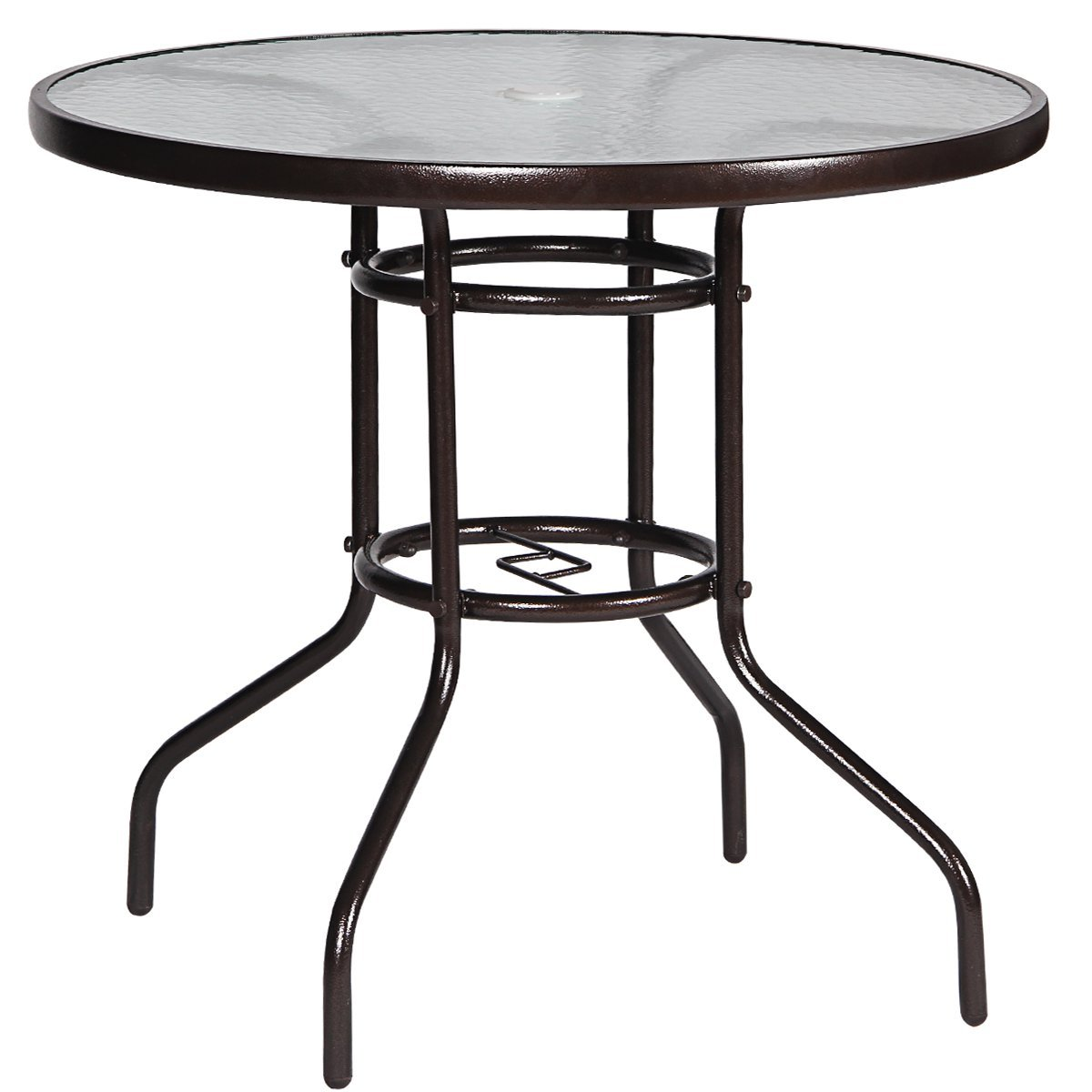 FurniTure Outdoor Tempered Glass Table Patio Dining Table 32'' Outdoor Coffee Table Garden Umbrella Table Bistro Table Round Table, Dark Chocolate by FurniTure (Image #1)
