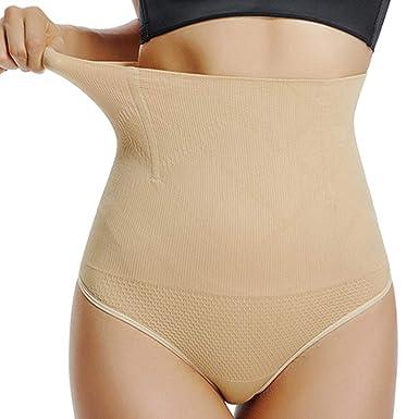 893028d494 High Waist Thong Shaper Body Brief Control Panty Seamless Shapewear for Women  Tummy Control (Beige