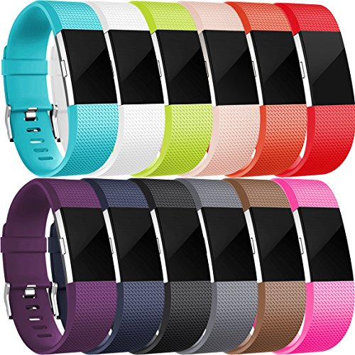 For Fitbit Charge 2 Bands(12 Pack), Maledan Replacement Accessory Wristbands for Fitbit Charge 2 HR, Large Small