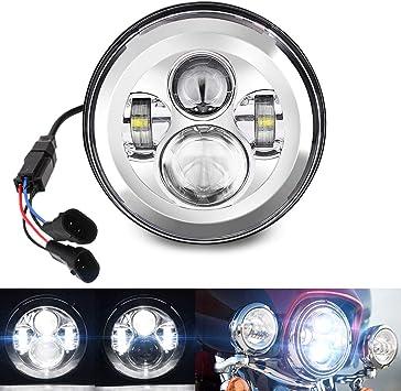 "7/"" Chrome LED Hi-Lo Beam Headlight DRL Headlamp for Harley Davidson"