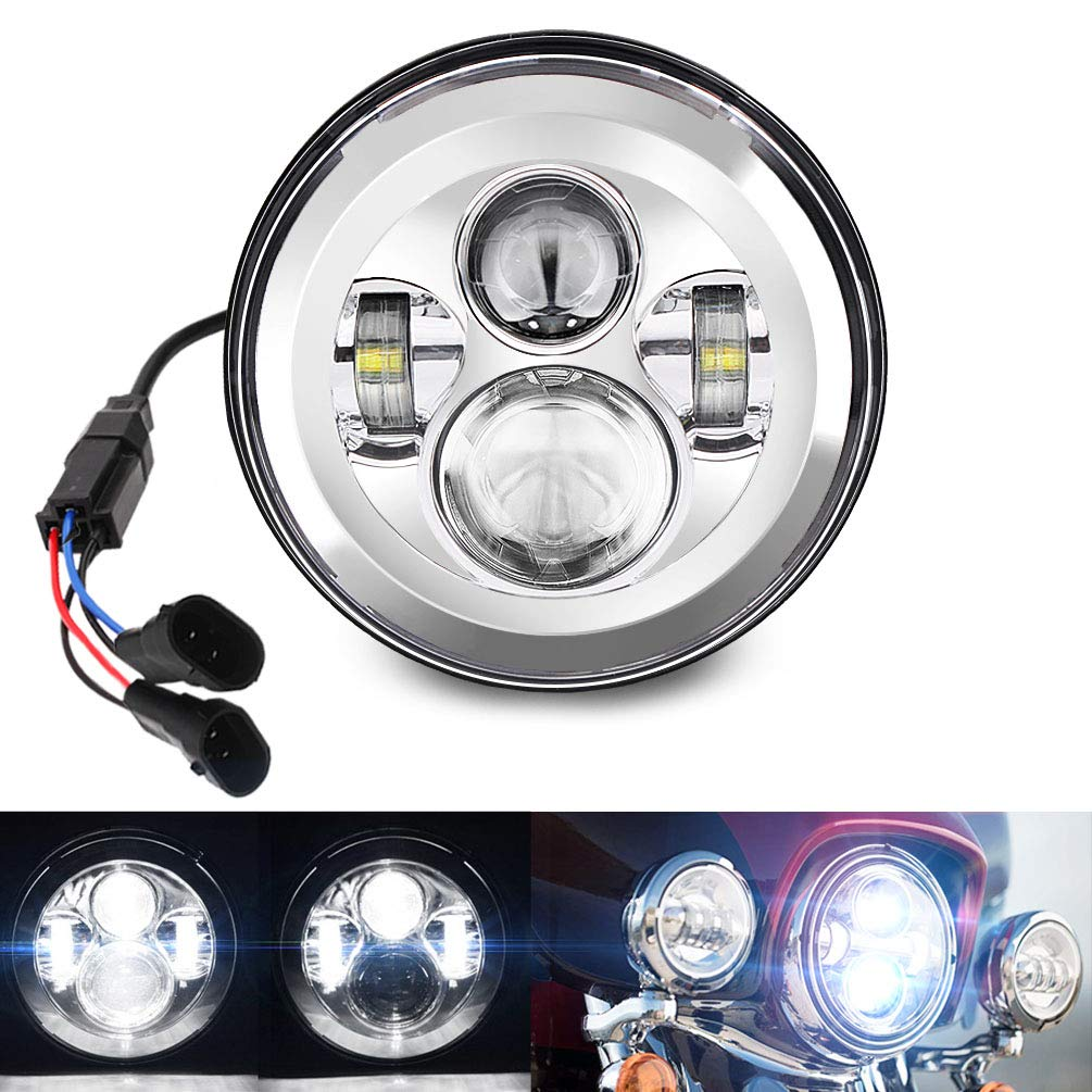 Belt&Road 7 Inch Round Super White LED Headlight for 2014-2017 Harley Davidson Street Glide Special and Road King Special,Hi-Lo Beam Headlamp With Dual Beam Adapter,Chrome Housing by BeltandRoad
