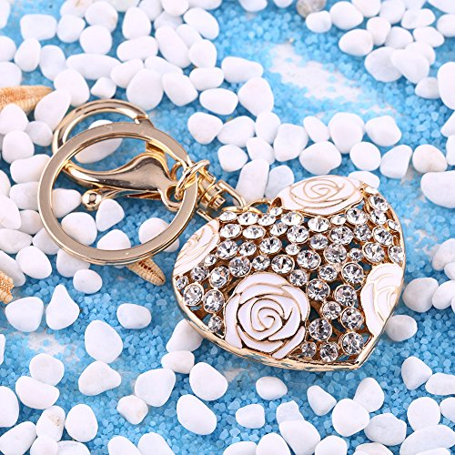 Heart Shaped Keychain with Rose Flower Crystal Key Ring Charm Purse Bag Pendant Gift(White) (Pop Flower Shaped)