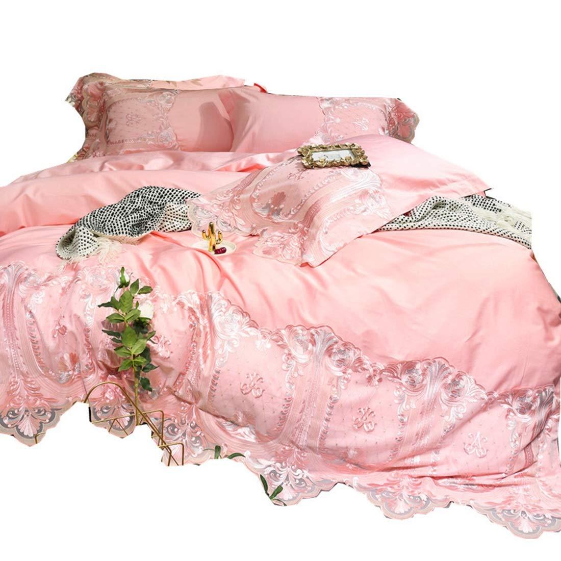 Kainuoo ピンクのレースのハイエンドソフトスーツピュアコットンサテンロングベルベットコットン寝具セット4枚 (Size : QUEEN) B07N6R8YPC  Queen