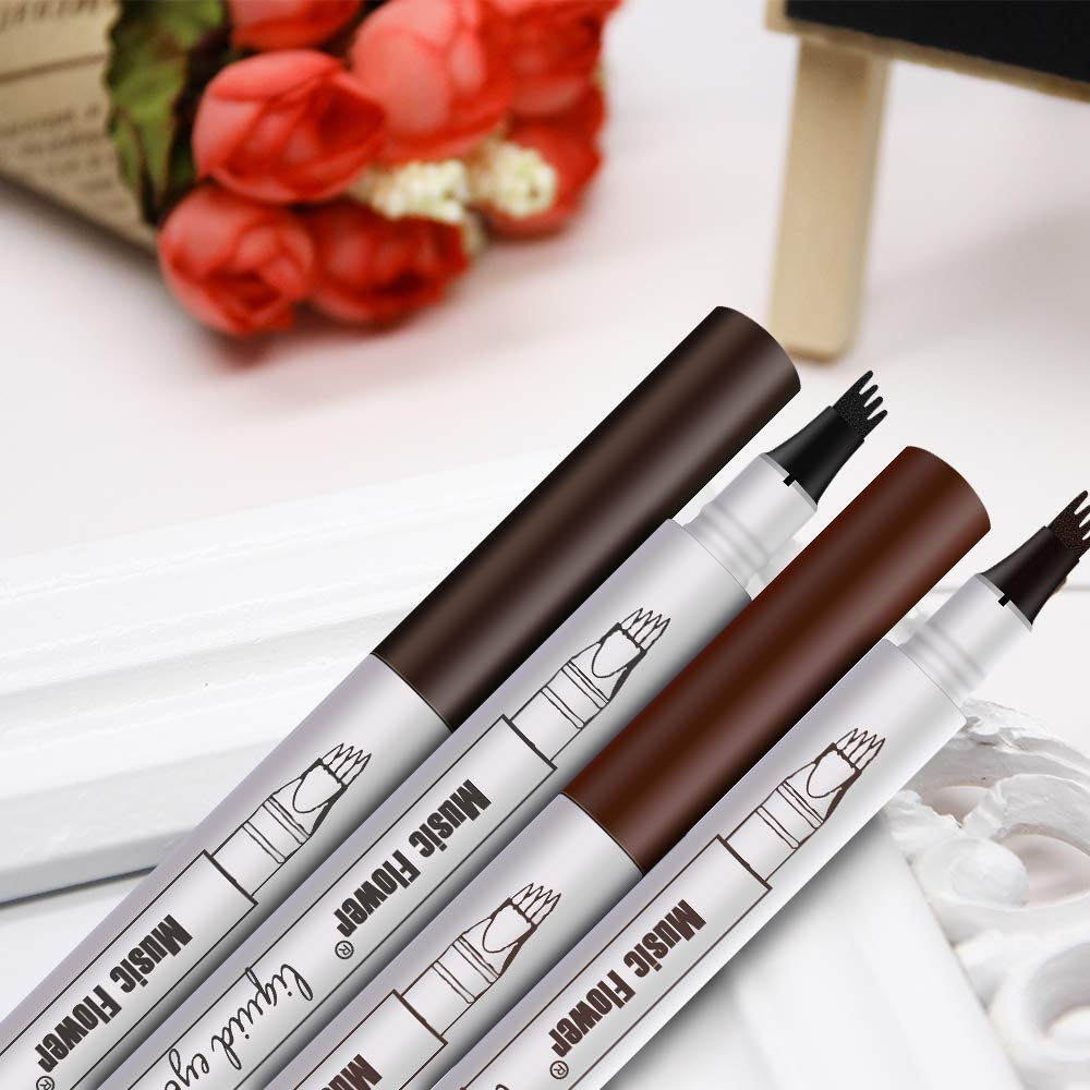 Tattoo Eyebrow Pen - KASI Waterproof Long Lasting Microblading Eyebrow Tattoo Pencil with Fork Tip, Smudgeproof Tatbrow Ink pen for Natural Hair-Like Defined Brows - Brown
