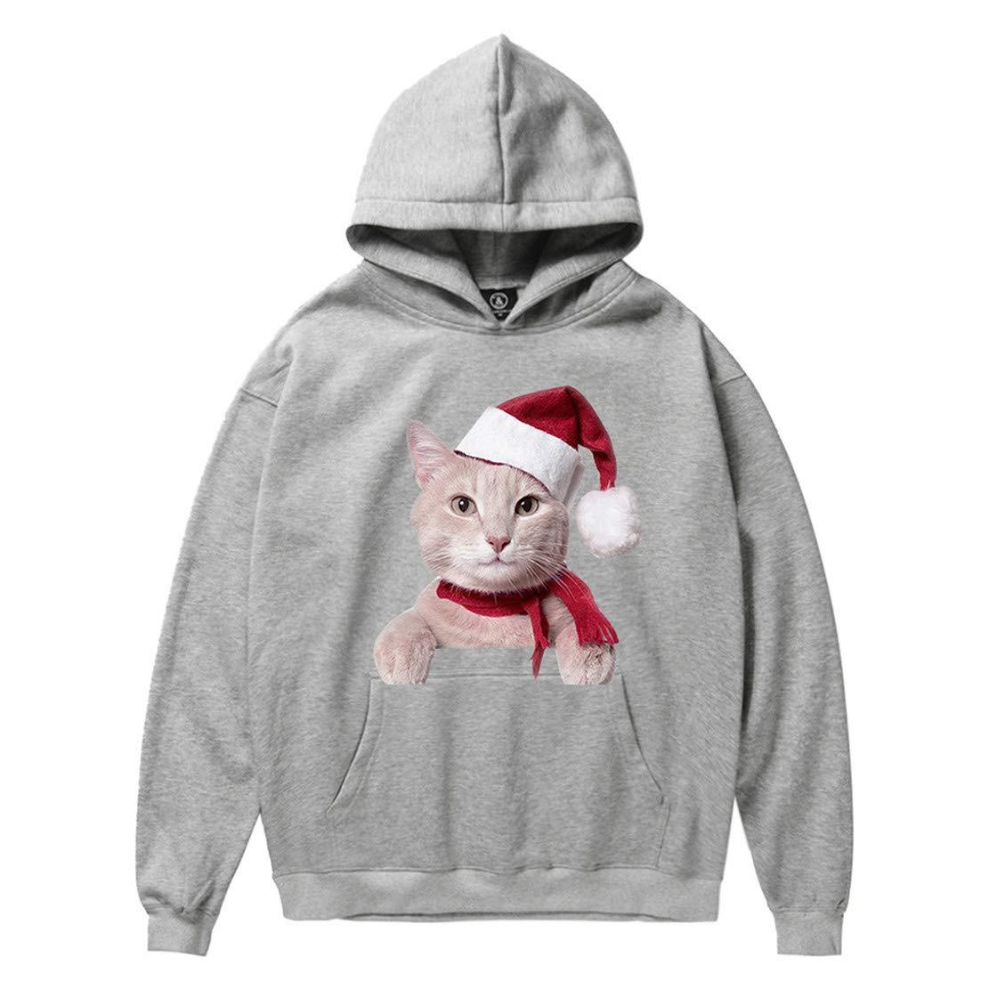 Mikey Store Men Woman Winter Christmas Cat Print Long Sleeve Hooded Sweatshirt Tops