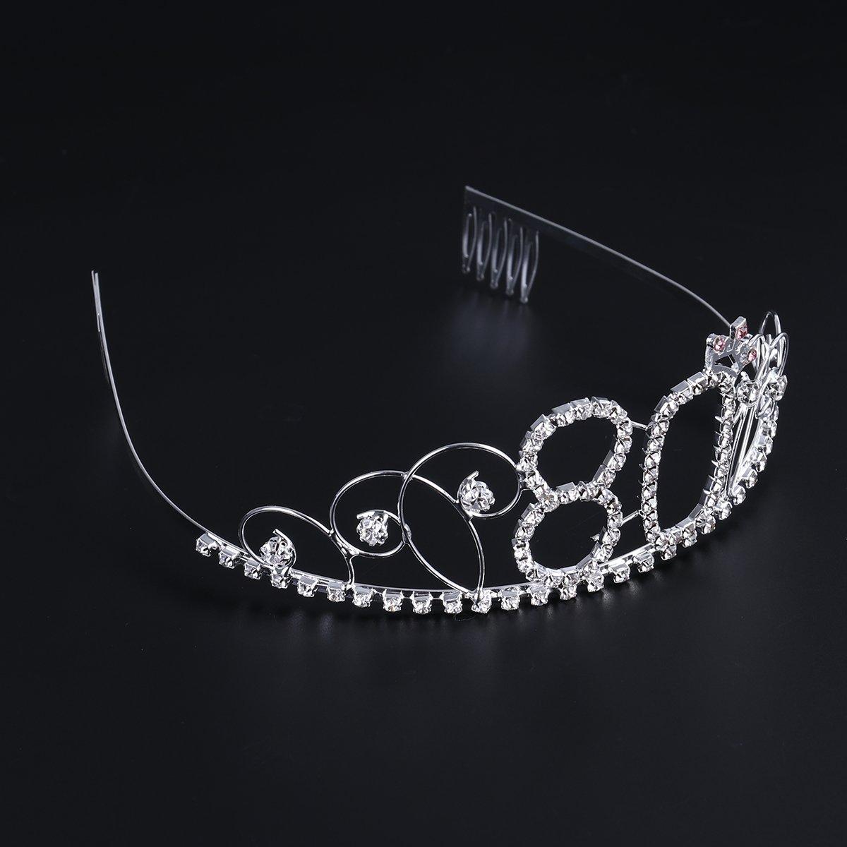 Plata Frcolor Corona Cumplea/ños 80 A/ños Diadema Cumplea/ños Mujer Tiara Cristal con Peines