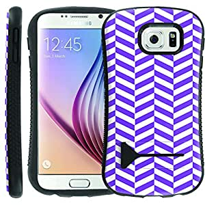 [ManiaGear] [SHOCK] Ultra Rugged Design ShockProof Armor KickStand Case (Purple White Zigzag) for Samsung Galaxy [S6]