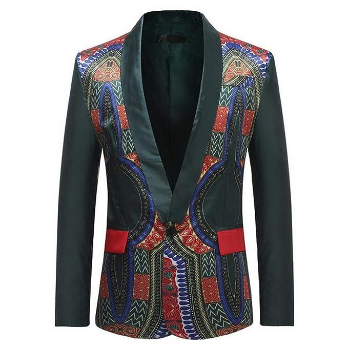 Afrian Floral Jacket Suit para Hombre Blazers de un Solo botón Trajes Streetwear Slim Party Blazers