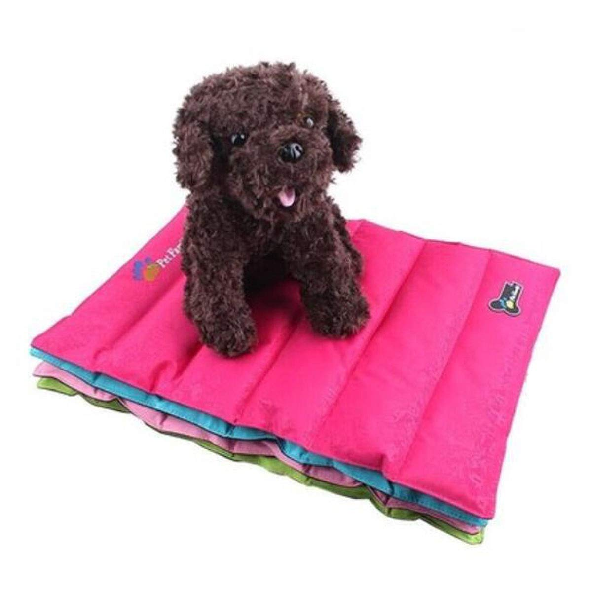 Dog Bed, Dog Cooling Bed, Summer Dog Cooling Pad, Ultra-Thin Cooling Artifact for Sofa Floor Car Sleeping Pad Foldable, Red Green bluee Pink L (color   Pink, Size   S)
