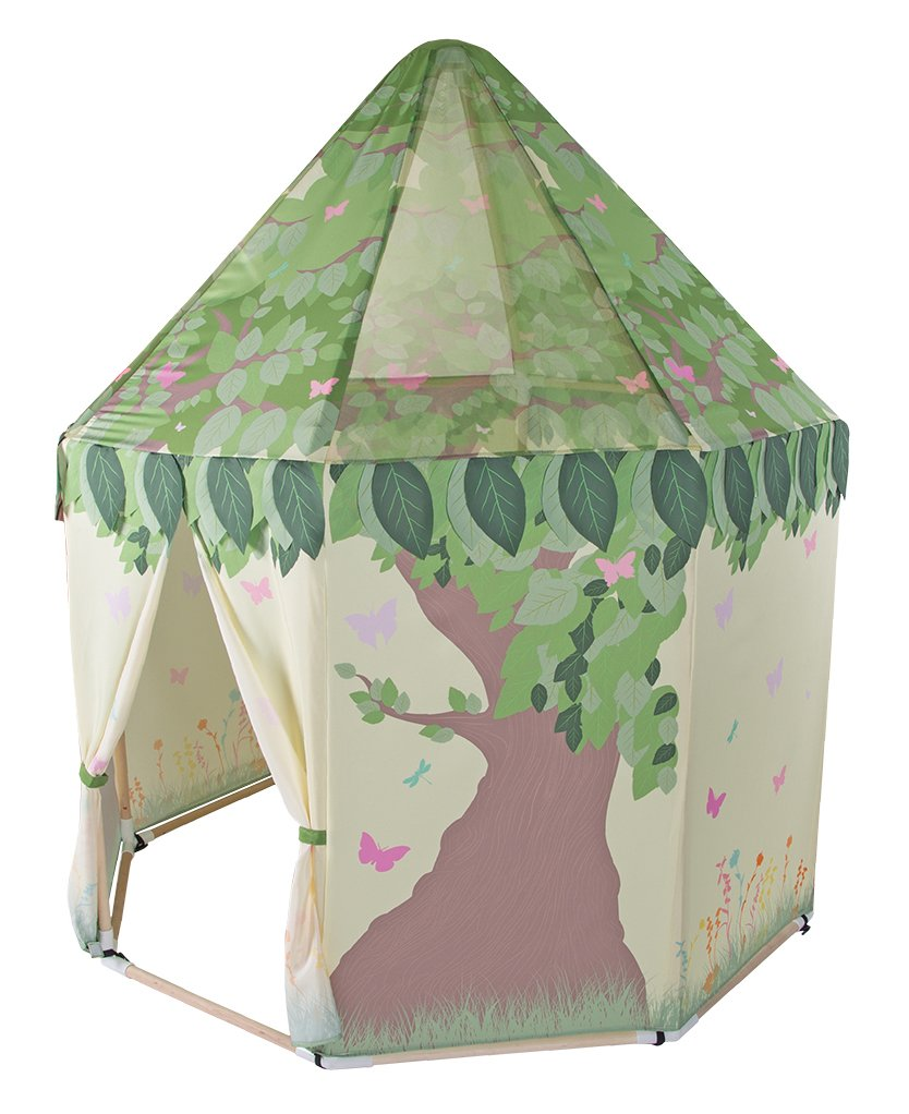 Pacific Play Tents Kids Butterfly Garden Wood Frame Pavilion Playhouse - 59'' x 63''