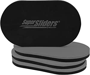 "SuperSliders 4746595N Reusable XL Heavy Furniture Sliders for Hardwood Floors- Felt Floor Protectors, 9-1/2"" x 5-3/4"", Gray (4 Pack)"