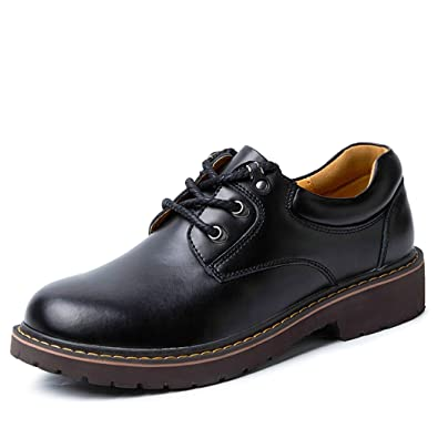 Men's Oxford Leather Lace Up Casual Shoes Work Business Formal Dark Brown QIANLING COLLECTION US9.5