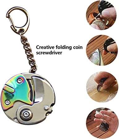 Multifunction Mini Tools Folding Pocket Screwdriver Coin Plier Cutter Keychain