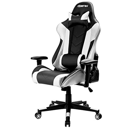 Merax Ergonomic Racing Gaming Chair Swivel Executive Computer Desk Chair High Back Big and Tall Home Office Reclining Chair with Headrest and Lumbar Support White