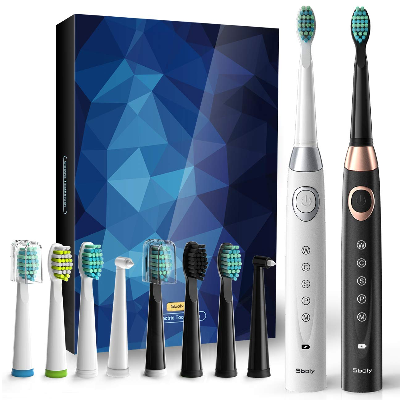 2 Sonic Electric Toothbrushes 5 Modes 8 Brush heads USB Fast Charge Powered Toothbrush Last for 30 Days, Built-in Smart Timer Rechargeable Toothbrushes for Adults and Kids (1 Black And 1 White) by Sboly