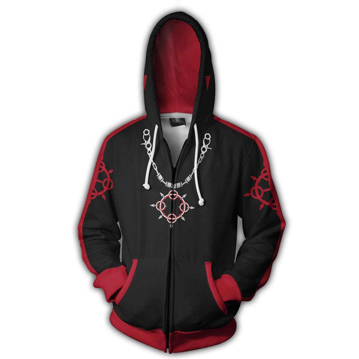 VOSTE Axel Costume Halloween Game Cosplay Zip Up Hoodie Jacket (X-Large, Color 6)