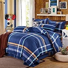 uxcell® bed sets,Plaid Pattern Pillowcase Quilt Cover Bedding Set Double Size Blue