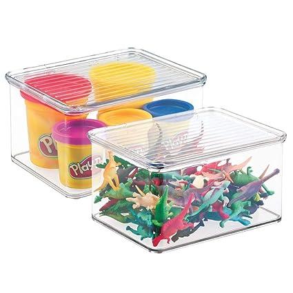 mDesign Juego de 2 organizadores de juguetes con tapa – Cajas de almacenaje apilables para guardar