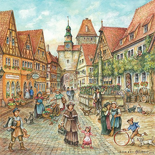 Essence of Europe Gifts E.H.G German Town Scene 6x6 Ceramic Tile