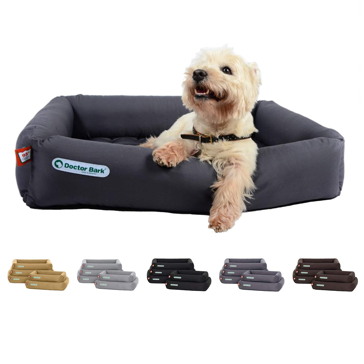 Brown Medium   27x23x6\Doctor Bark Dog Bed  Made in Germany   Deluxe Orthopedic Bed + Cushion   Washable up to 200°F   Suitable for dryers   Premium Quality   Suitable for allergics   Developed by Veterinarians