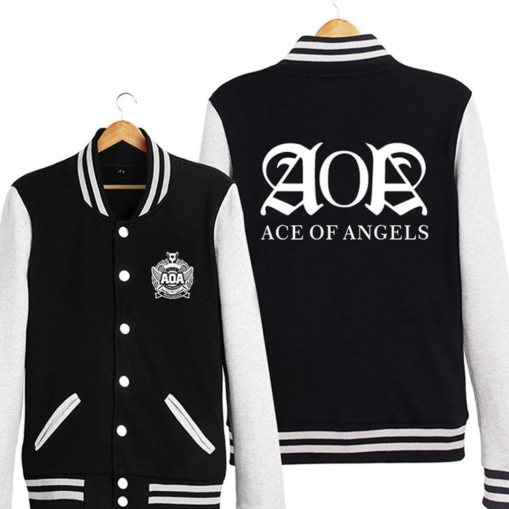 ALLDECOR AOA Letter Baseball Uniform Jacket Kpop Autumn Long Sleeve Hoodie Coat