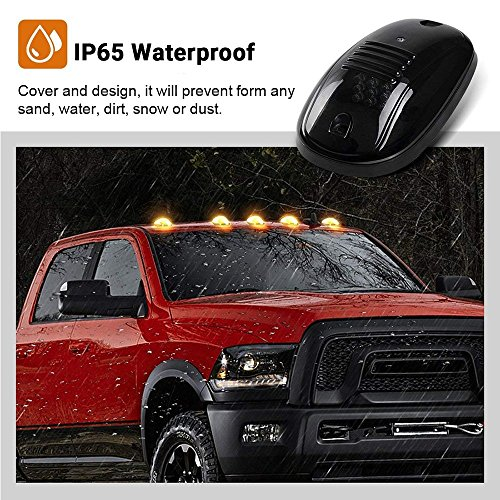 5pcs Cab Roof Clearance Marker Lamps Roof Running Light Smoked Lens White LED For Dodge RAM 1500 2500 3500 Ford F-Series Chevy//GMC Trucks