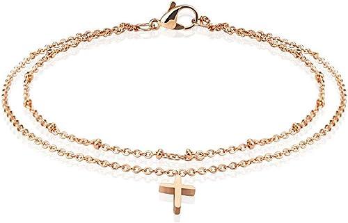Pendentif Croix Catholique Chevillere Chaine de Cheville en Argent 925//000