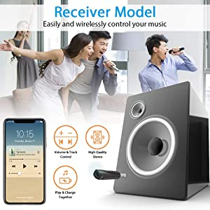 Mini Bluetooth Receiver, Protable Wireless Bluetooth 4.2 Adapter/Car kit Audio Bluetooth Receiver 3.5mm Aux Stereo Music Adapter for Home/Car PC TV Audio Music Streaming Stereo System (Color: black)