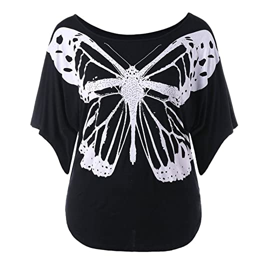 c50e4372b21 Fashion Women Casual Plus Size Butterfly Print Low Cut O Neck T-Shirt Loose  Short