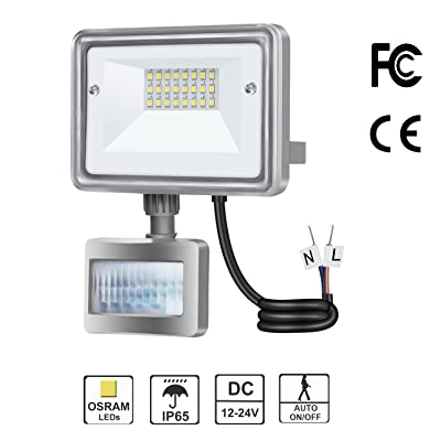 10W LED Flood Light, STASUN DC 12V-24V Motion Sensor Security Light, 950LM (100W Equiv.), 6000K Daylight White, Waterproof, Great for Driveway Patio Garden Path