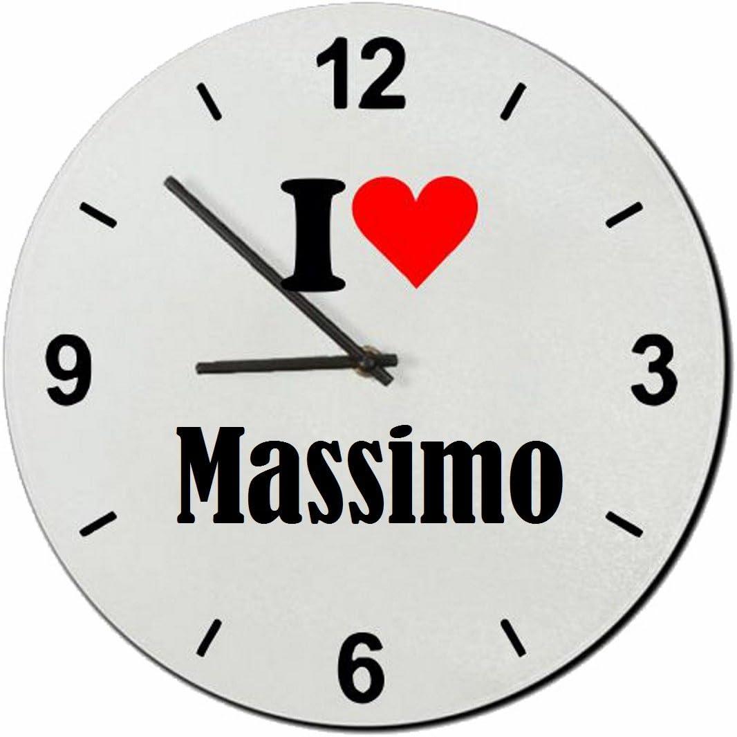 Druckerlebnis24 Exclusivo: Vidrio de Reloj I Love Massimo una Gran Idea para un Regalo para su Pareja, colegas y Muchos más! - Reloj, Regaluhr, Regalo, Amo, Made in Germany.