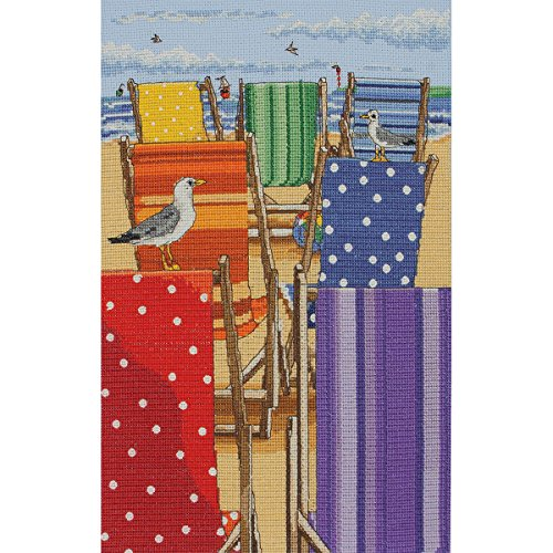Maia Rainbow Deckchairs Counted Cross Stitch Kit, 11.8 by 7.9-Inch