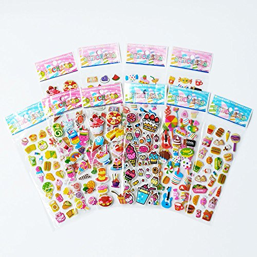 Candy Stickers (Awerise pack of 10 sheets 3D lovely candy cakes sweets puffy bubble stickers, scrapbooking, kids party favors gifts, birthday gifts)