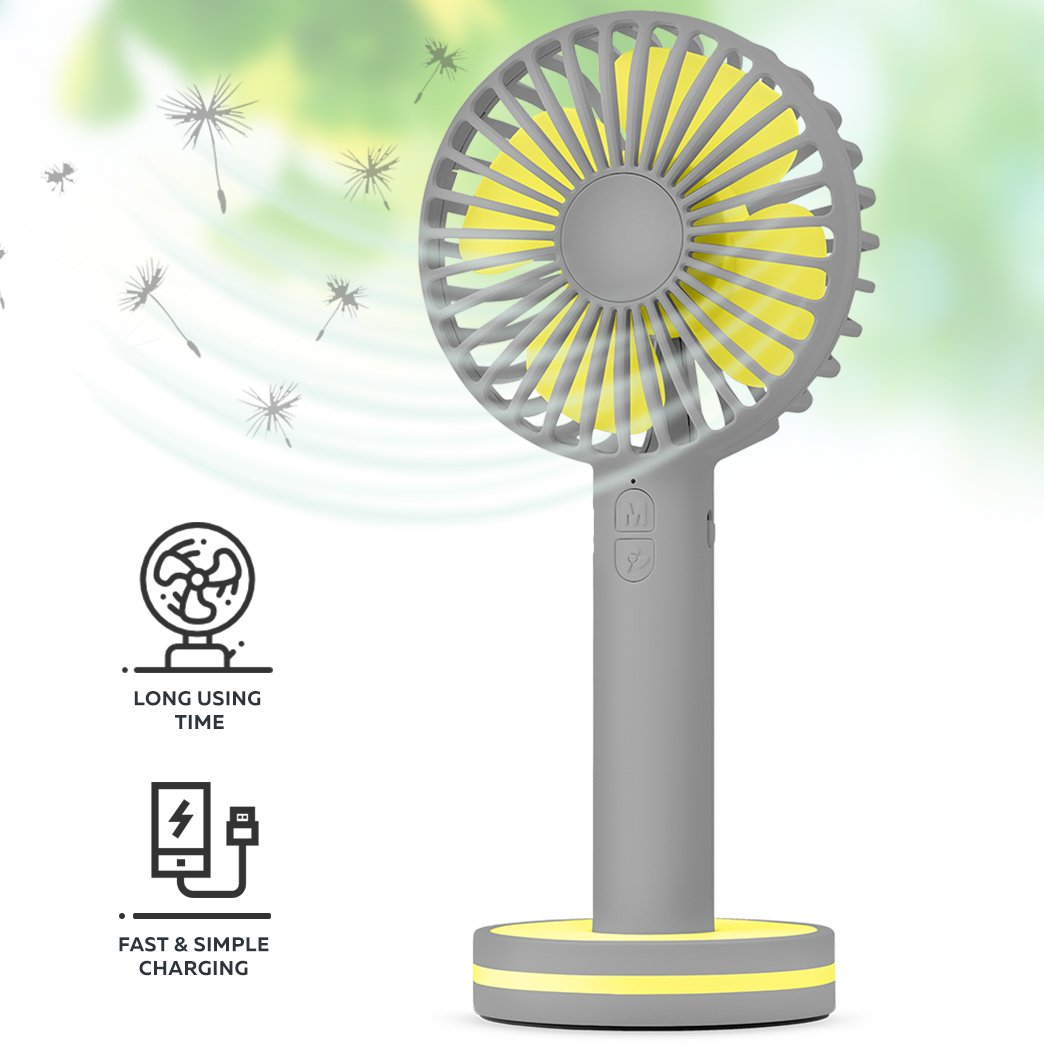 Function Labs Personal Mini USB Handheld Cooling Fan - Rechargeable, Compact, Portable, Adjustable 3 Fan Speed and Perfect for Kids/Camping- Comes with Magnetic Mirror Base (Grey Yellow)